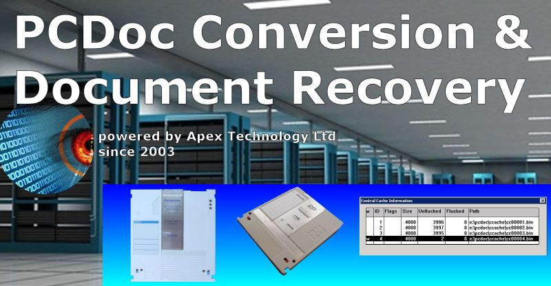 Conversion of SoftCo's PCDoc Enterprise documents and Database from MO disks and Central Cache (ccache .bin) files stored on hard disk drive export to TIF TIFF JPEG PDF